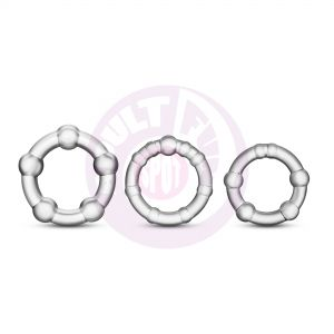 Stay Hard Beaded Cockrings - 3 Pack - Clear