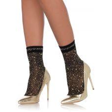 Lurex Anklets - Black/ Gold