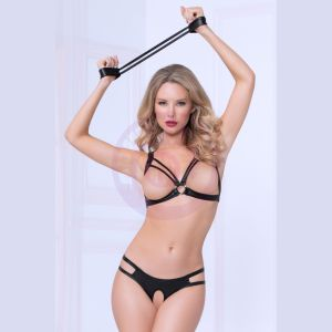 Three Piece Bra Set With Handcuffs - One Size - Black