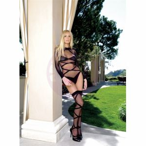Criss Cross Teddy and Thingh Highs - One Size - Black