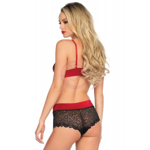 2 Pc. Lace Trimmed Spandex Bralette & Brazilian  Back Boy Shorts - Medium/ Large - Red/ Black