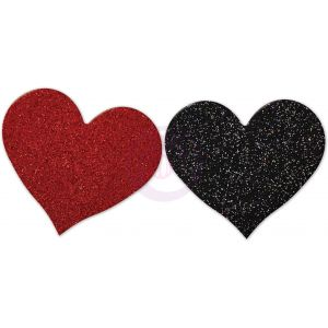 Nipplicious - Heart Shape Pasties - Glitter  -  Red and Black