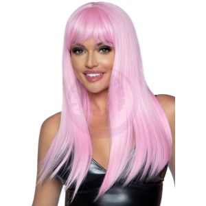 24 Inch Long Straight Bang Wig Pink