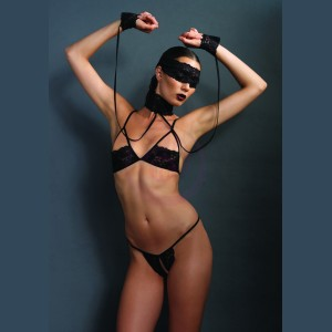 Kink Lace Bra and G-String Set With Choker and Mask