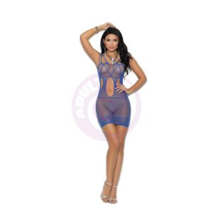 Fishnet Mini Dress With Cut Out Detail - One Size - Royal Blue