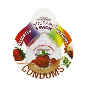 Endurance Lubricated Flavored Condoms - 3 Pack Disc - Assorted Flavors