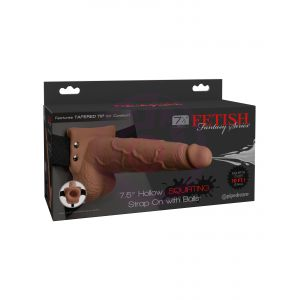 """Fetish Fantasy Series 7.5"""" Hollow Squirting Strap-on With Balls -"""