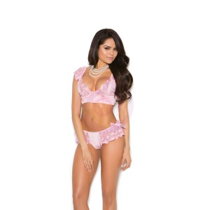 Bralette & Skirted Panty - Extra Large  - Pink
