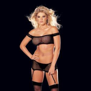 4 Pc. Fishnet Stretch Lace & Suspender Teddy -  One Size - Black