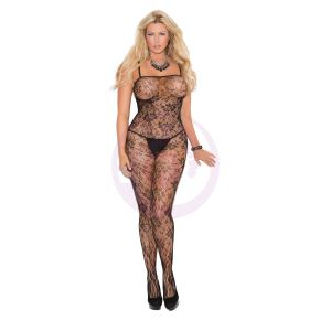 Rose Lace Bodystocking With Open Crotch - Queen Size - Black