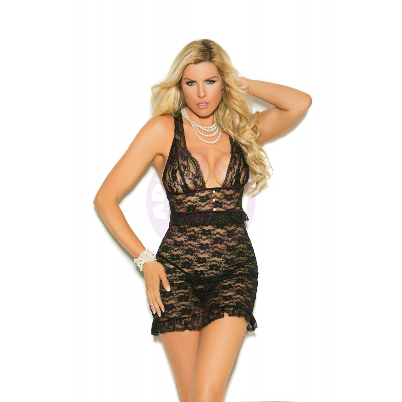 Lace Babydoll With Pearl Buttons - Queen Size 1x - Black