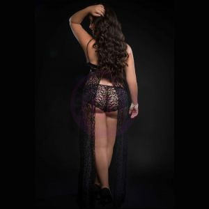 2pc Strappy Halter Laced Night Gown With Side Slits and Open Back - Queen Size - Black