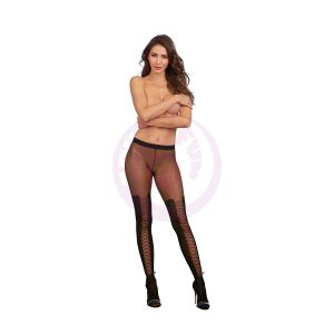 Faux Laceup Boot Pantyhose - One Size - Black