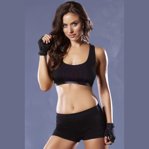 Strike Corsetry Back Microfiber Sports Bra - Large - Black