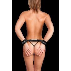 Adjustable Leather Handcuffs - Black