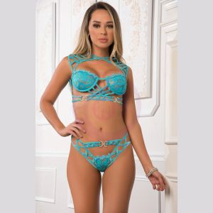 2pc Balcony Empire Laced Top and Strappy Bikini Panty - One Size - Aqua Neon Blue