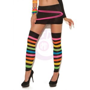 Neon Striped Leg Warmers - One Size