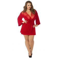 Satin & Eyelash Robe - Queen Size - Red