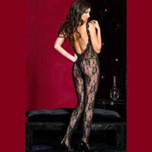 Lace Crotchless Bodystocking W / Lace Trim - One Size - Black