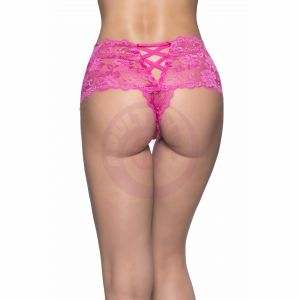 Crotchless Lace Boyshort - Small/ Medium - Pink