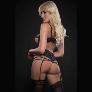 1pc Open Cups Plunge Teddy and Daring Crotch With Stockings - One Size - Black