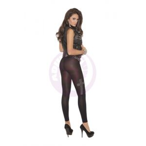 Leggings With Silver Studs - Black - One Size