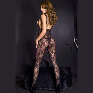 Lace Peek - a - Boo Crotchless Bodystocking W / Satin Bow - One Size - Black