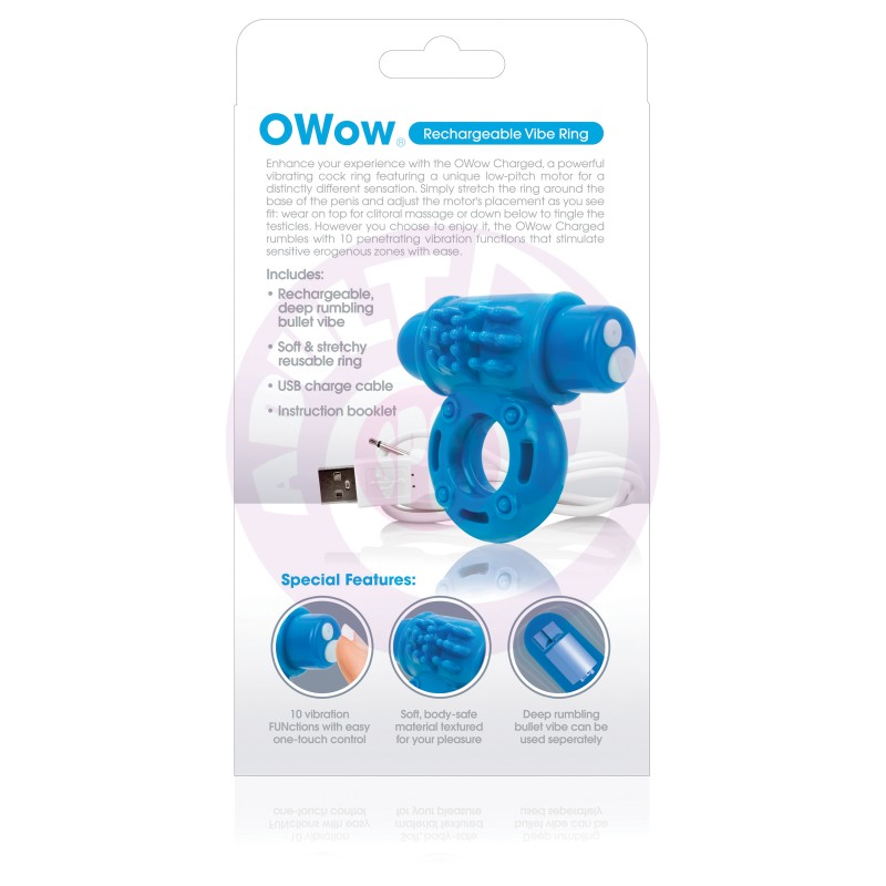Charged Owow Rechargeable Vibe Ring - Blue