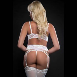 1pc Open Cups Plunge Teddy and Daring Crotch With Stockings - One Size - White