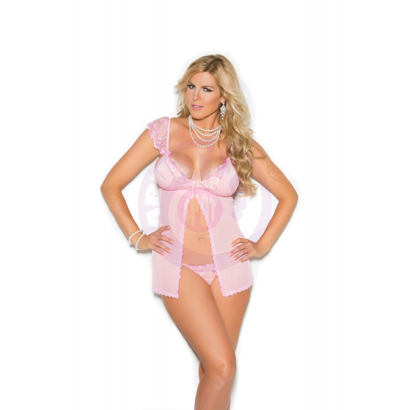 Mesh & Satin Babydoll - Queen Size 1x - Pink
