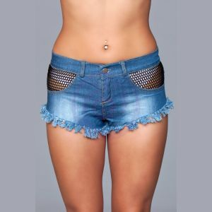 Denim Shorts With Fishnet Top Trimming and Fringe  Bottom Details - Large