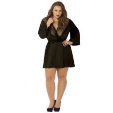 Satin & Eyelash Robe - Queen Size - Black