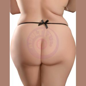 Hookup Panties Remote Bow-Tie Bikini - Black - XL - Xxl