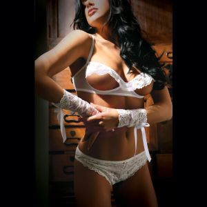 Forever Yours Bra Panty and Gloves - One Size - White