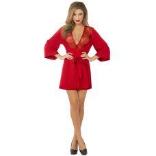 Satin & Eyelash Robe - One Size - Red