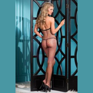 1 Piece Bow Accented Fishnet Bodystocking With  Thin Shoulder Straps - One Size - Black
