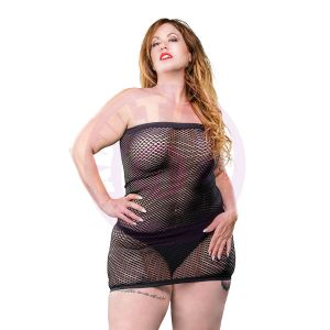All Over Mesh Tube Dress - Black - 1x-4x