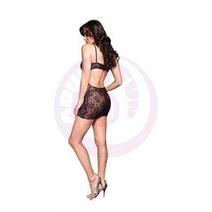 Boudoir Rose Lace Mini Dress - One Size - Black
