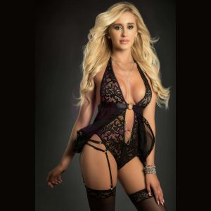 2pc O-Ring Babydoll Zip Crotch Teddy and Stockings - One Size - Black