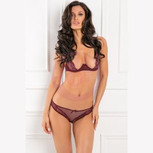 2 Piece With Love Mesh & Lace Half-Cup Bra Set - Burgandy - S/m