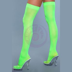 Opaque Nylon Thigh Highs - Neon Green - One Size