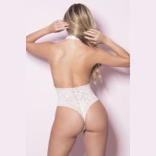Soft Lace Collared Teddy With Front Keyhole and  Open Back - Large/extra Large - White