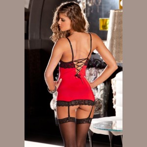2 Piece Lace and Mesh Hollywood Chemise and G-String Set - Small/ Medium - Red