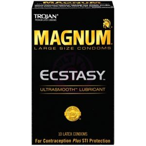 Trojan Magnum Large Size Ecstasy Ultrasmooth Lubricant - 10 Pack Tj64310