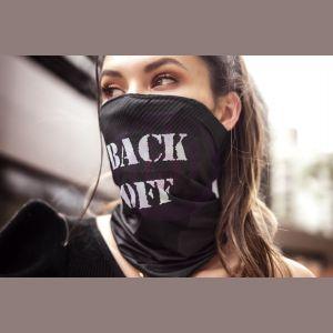 Face/ Neck Bandana - Back Off - Black Print -  One Size