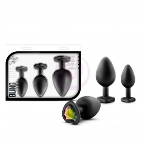 Luxe - Bling Plugs Training Kit - Black With Rainbow Gems