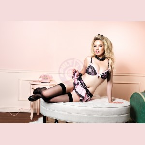Bra Skirt and G-String Set - Small - Pink/black