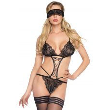 2 Pc. Sweethart Scalloped Lace G-String Teddy -  One Size - Black