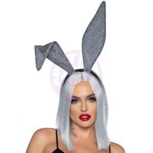 Glitter Bunny Ear Headband Silver