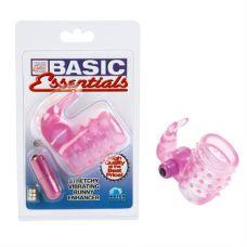 Basic Essentials Stretchy Vibrating Bunny Enhancer - Pink